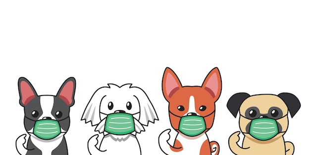 Set von niedlichen hunden der zeichentrickfigur, die schützende gesichtsmasken für das design tragen.