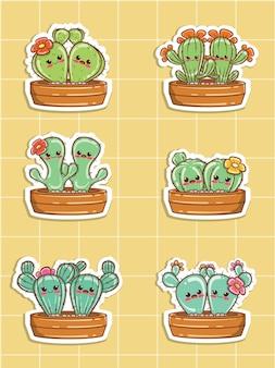 Set von niedlichen kaktus-paar-cartoon-aufkleber-illustration