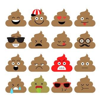 Set von niedlichen poop