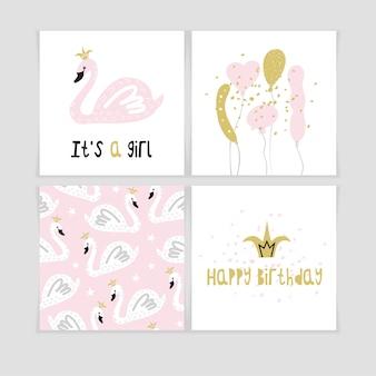 Set von niedlichen postkarten