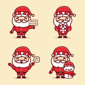 Set von niedlichen santa weihnachten, die geschenküberraschung und schneemann halten. kawaii-vektor