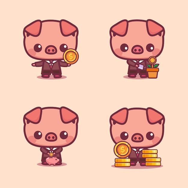 Set von niedlichen schweinen mit münzen investieren sparkonzept maskottchen-symbol für virtuelle finanzanwendung