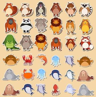 Set von niedlichen tier aufkleber