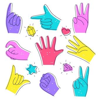 Set von niedlichen verschiedenen händen illustration im doodle-stil bezeichnung von zahlen
