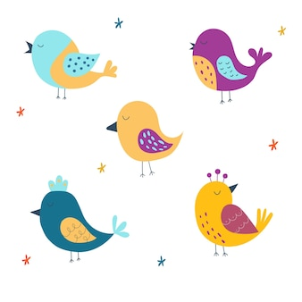 Set von niedlichen vögeln vektor-illustration isoliert auf weißem hintergrundhand gezeichnete illustration