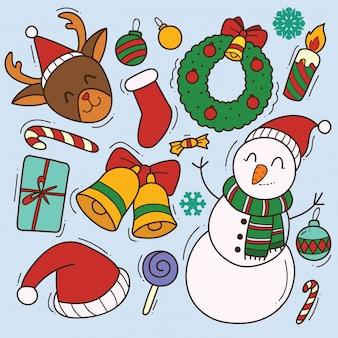 Set von niedlichen weihnachtsgekritzel