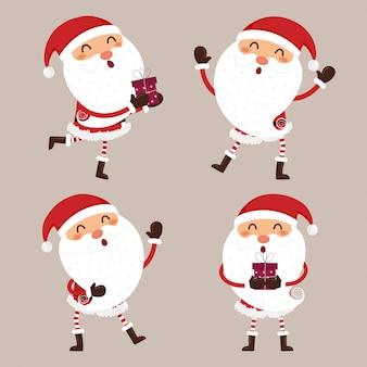 Set von niedlichen weihnachtsmann.