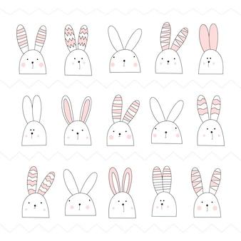 Set von niedlichen weißen hasen. kaninchen rosa