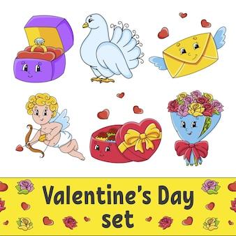 Set von niedlichen zeichentrickfiguren valentinstag clipart