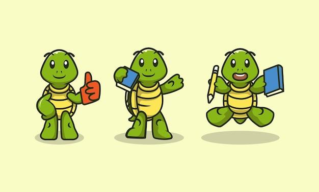 Set von niedlichen zurück in die schule schildkrötenmaskottchen-design-illustrations-vektorschablone