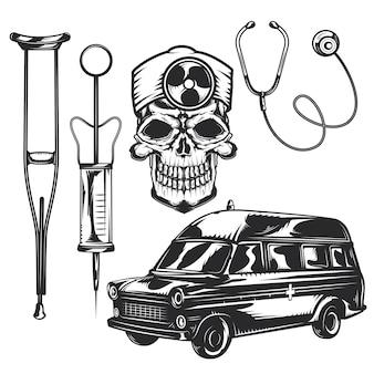 Set von notfallelementen zum erstellen eigener abzeichen, logos, etiketten, poster usw.