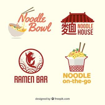 Set von nudeln restaurant logos