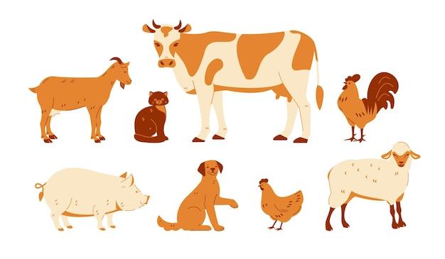 Set von nutztieren kuh ziege schaf katze hund hahn huhn schwein