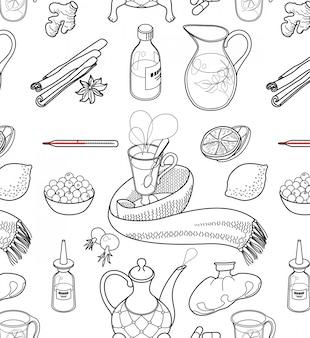 Set von objekten und kräutern, um erkältungen zu behandeln.