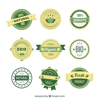 Set von öko-aufkleber produkt