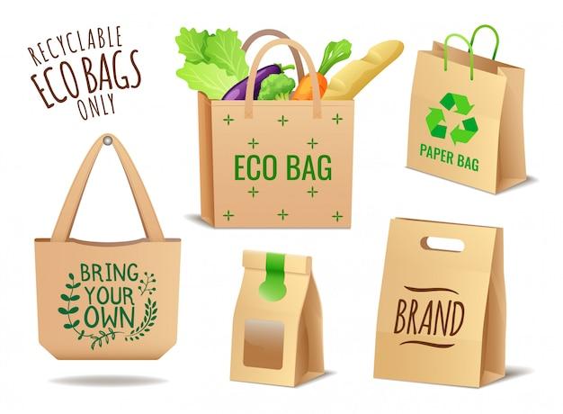 Set von öko-taschen aus textil, leinen und papier, keine plastikverpackung, verschmutzungsproblem
