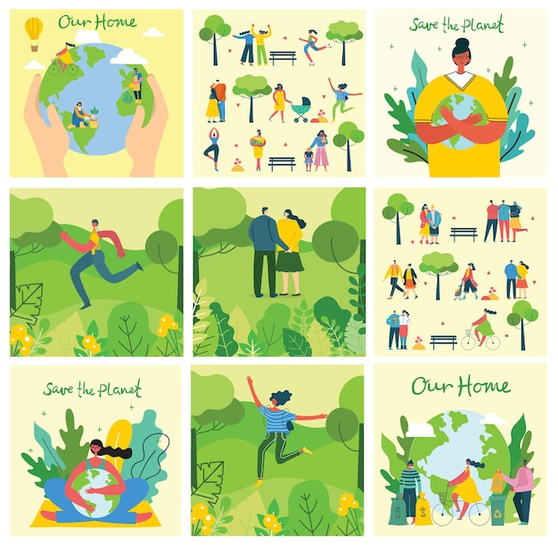 Set von öko-umweltbildern. leute, die sich um planetencollage kümmern. zero waste, denken sie grün, retten sie den planeten, unser handgeschriebener text im modernen flachen design