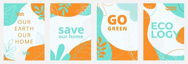 Set von ökologischen postern mit grünen hintergründen flüssige formen blätter und elemente and