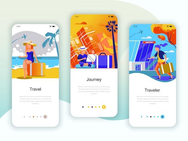 Set von onboarding-bildschirmen für die benutzeroberfläche