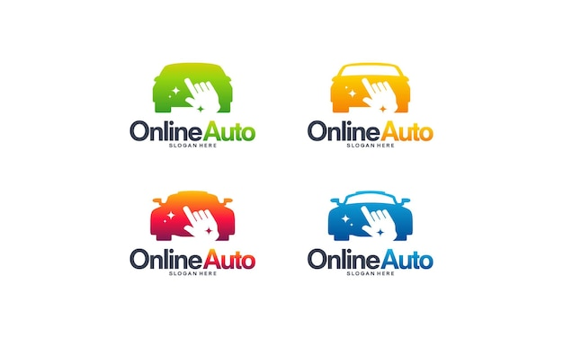 Set von online-automotive-logodesigns konzeptvektor, online-transportservice-logo-vorlagensymbol