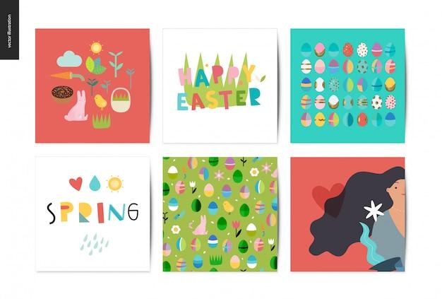 Set von ostern und frühling postkarten