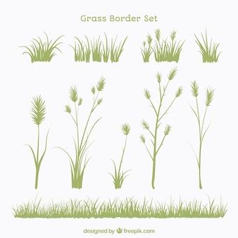 Set von pflanzen und gras grenzen