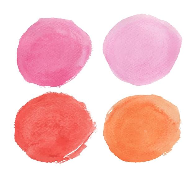 Set von pink, rot und orange. runde aquarellspritzer. kreiselemente Premium Vektoren
