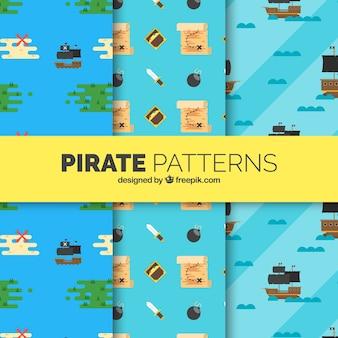 Set von piratenmustern in flachem design