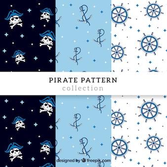 Set von piratenmustern mit handgezeichneten elementen
