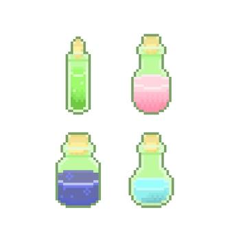 Set von pixel-magieflaschen-schulpackung mit zaubertränken für fantasy-spiele