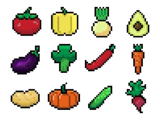 Set von pixelgemüse-kunstsymbolen für weblogo und app