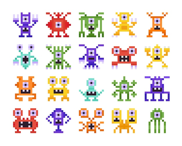 Set von pixelmonstern, retro-design für computer-acht-bit-arcade-spiele, isoliert auf weiss
