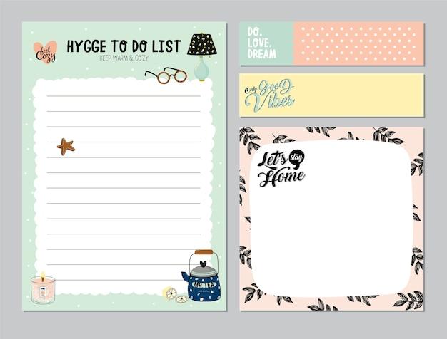 Set von planern und aufgabenlisten mit einfachen skandinavischen illustrationen und trendigen schriftzügen. vorlage für tagesordnung, planer, checklisten und anderes briefpapier. isoliert. . weißer hintergrund