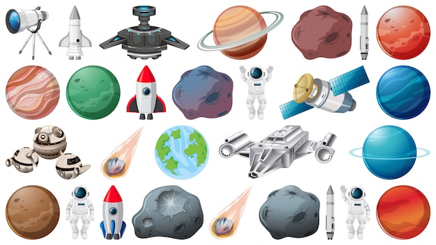 Set von planeten und weltraumobjekten