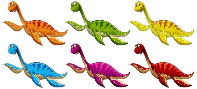Set von pliosaurus-dinosaurier-cartoon-figur