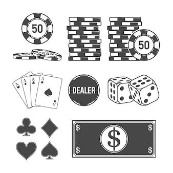 Set von poker- und casino-elementen