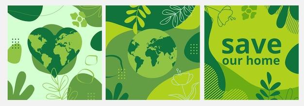 Set von postern zum tag der erde mit grünen hintergründen flüssige formen