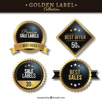 Set von premium-gold-aufkleber Kostenlosen Vektoren