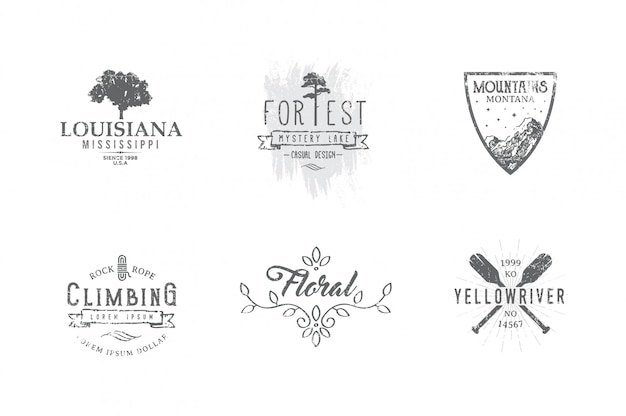 Set von premium-labels zu den themen wildtiere, natur, jagd, reisen, wilde natur, klettern, camping, leben in den bergen,