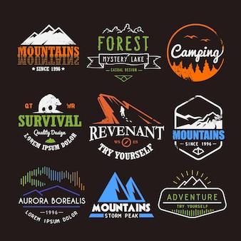 Set von premium-labels zu den themen wildtiere