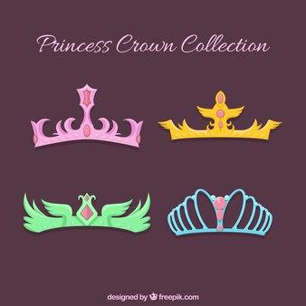 Set von prinzessin kronen mit verschiedenen farben und designs