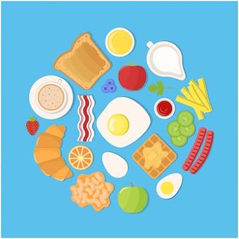 Set von produkten für das frühstück in einem flachen stil.