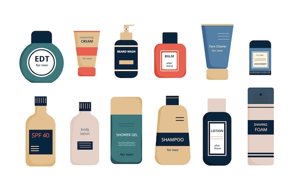 Set von produkten für die gesichts- und körperpflege für männer männliche kosmetik tuben und flaschen mit aufschrift
