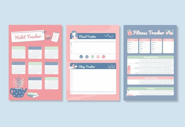 Set von produktivitäts-trackern für gewohnheiten, stimmung, schlaf und fitness