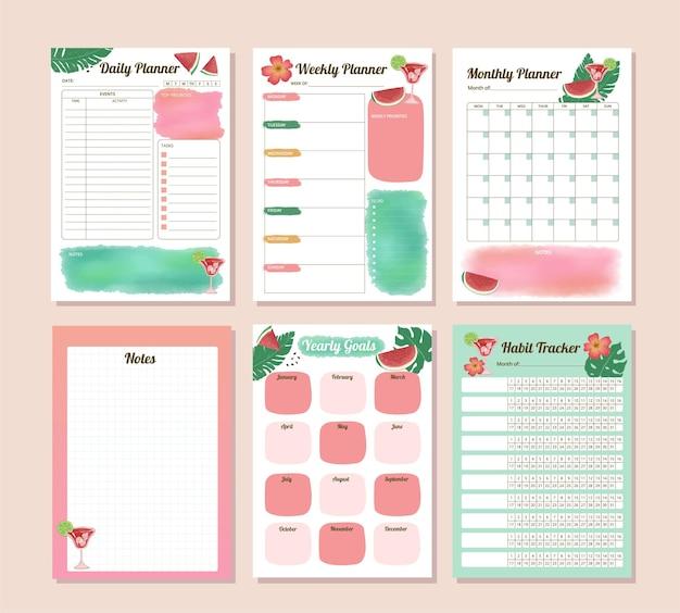 Set von produktivitäts-wassermelonen-aquarell-tages-monats-jahres- und gewohnheits-tracker-plan