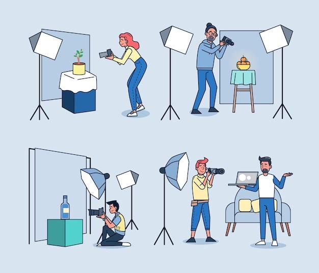 Set von professionellen fotografen arbeiten