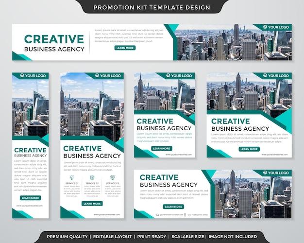 Set von promotion-kit-vorlagen im premium-stil