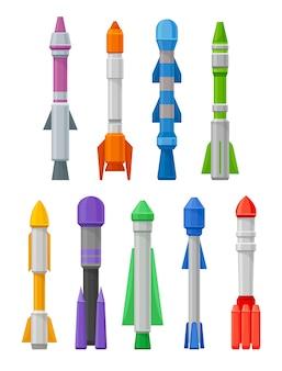 Set von raketen in verschiedenen formen und farben