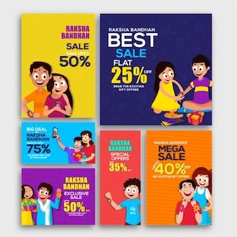 Set von raksha bandhan verkauf banner