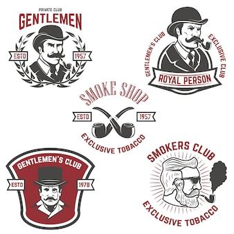 Set von raucherclub, gentlemen club labels. elemente für, emblem, zeichen, markenzeichen. illustration.